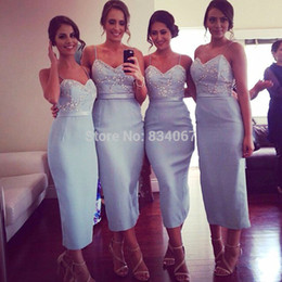 Tea Length Sheath Bridesmaid Dresses vestido de madrinha 2016 Spaghetti Straps Sexy Party Formal Gowns for Weddings