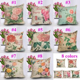 """17"""" 8 Types Roses Flowers Cushion Covers Rose Flowers Printing Throw Pillow Cases Cushion Cases Valentine's Day Gift"""