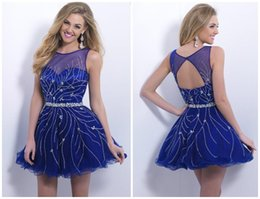 Wholesale Blush Sexy Blue Sequins Homecoming Dresses Sheer Crew Sleeveless A Line Short Crystal Florets And Miniature Beaded Short Party Dresses