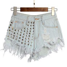 Europe and America hole rivet irregular cat fringed cowboy waist pants pants shorts shorts