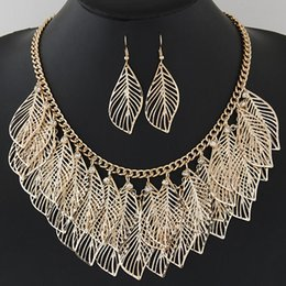 Fashion Bohemian Indian Jewelry Set For Women Hollow Leaves Necklaces & Pendants Statement Necklace Set Turkish Jewelry