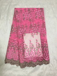 Hot sale African mesh lace fabric with fuchsia pink and brown flower pattern,french net lace for party clothing DN5-5