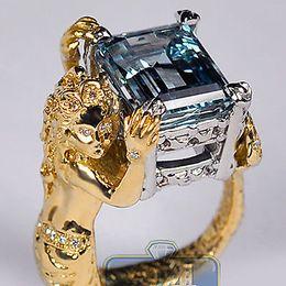 GIA 18K Or jaune Platine 7.59 ct Aigue-marine Diamant Femme Sirène Bague à partir de bague en or aquamarine fabricateur