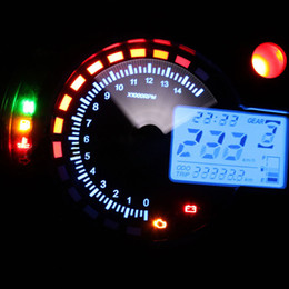 Wholesale 2016 New Arrival Universal Tachometer LCD Digital Motorcycle Speedometer Odometer with Tow Backlight Wheel Size Adjustable