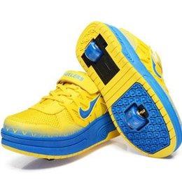 Wholesale HOT SALE children heelys high quality shoes double PU wheel skates automatic boy girls shoes EUR SIZE