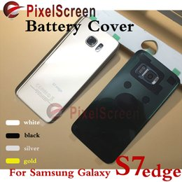 Original New For Samsung Galaxy S7 edge G9350 Black White Gold Silver Back Glass Cover Rear Battery Cover Door Housing Case Replacement
