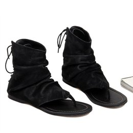 US6-10 Vintage Men Genuine Leather Roman Style T-strap Flip Flop Gladiator Sandals Lace Up Cover Heel Summer Sandals