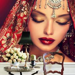 Promotion boutiques de charme Fond d'écran 3D sur mesure Personnages indiens de charme Papier peint Murale Chambre Makeup Shop Salon Canapé Mural de toile de télévision Art Décor de salle