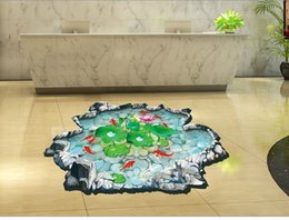 Wholesale 3D pond pool lotus Wall Stickers Art Wall Decals Removable Murals Nursery Decoration Home Docor Kitchen Tools