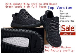 Wholesale Free DHL Real Boost Bottom Pirate Black Top Factory Quality Boost Running Shoes With Double Box Receipt Socks Keychain Shopping Bag