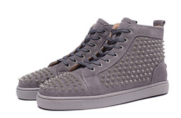 Cheap red bottom sneakers Luxury mens womens grey matter leather with Spike Studded high top sneakers,designer causal flat sports shoes36-46