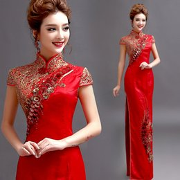 Wholesale 2016 New Red Chinese Robes Sheath High Collar Capped Sleeves Ankle Length D Floral Appliques Satin Cheongsam Chinese Dresses