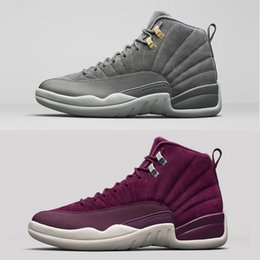 (With box) 2017 AAA+ Quality air retro 12 12s Men Basketball Shoes Dark Grey Bordeaux Wine red Sports sneakers US 5.5-13