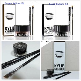 Wholesale NEW Kylie Cosmetics By Kylie Jenner Kyliner In Black Brown Kyliner Kit with Eyeliner Gel pot Brush top quality best price