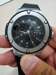 Wholesale Luxury Brand Hub Automatic Watch Man Big Bang Black Dial Grey Sklelton Rubber Band Watch Montre Homme