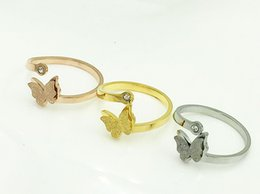 Wholesale 316L stainless steel butterfly adjustable rings silver gold rose gold rings for choose mix order