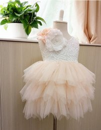 Wholesale Summer Cotton Lace Dresses - Girls party dress new children Stereo flowers lace tulle tutu dress girls back V-neck tiered tulle cake dress kids princess dress A9044