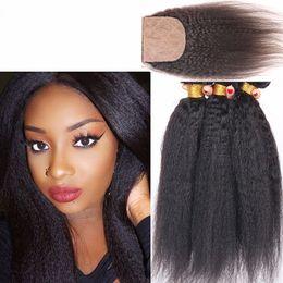Virgin Brazilian Kinky Straight 3Bundles With 4x4 Silk Base Closure 4Pcs Lot Italian Coarse Yaki Silk Top Closure With Virgin Hair Weaves