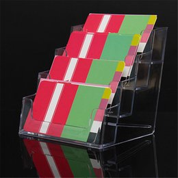 Wholesale The Best Quality Four Pockets Clear Desktop Office Counter Acrylic Business Card Holder Stand Display Fit For Office School