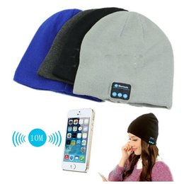 Wholesale Bluetooth music Beanie Hat soft warm Cap with Stereo wireless Headphones Microphone Hands Free and Rechargeable Battery for Mobile Phones