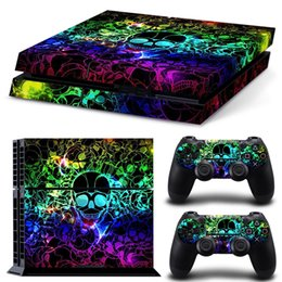 Superb Colourful Skull Vinyl Decal PS4 Skin Sticker full Set Console Skin+2 PCS Controller Protective Skin Stickers