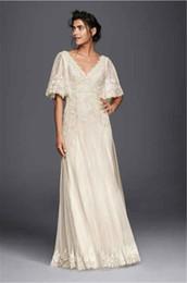 A-line V-neck Applique Lace Wedding Dress with Flutter Short Sleeves MS251133 Floor Length Bell Sleeves Bridal Dresses