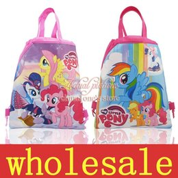 Wholesale My Little Ponies Children Cartoon Drawstring Backpacks Bags School Shopping Bags Kids Party Gift Bags cm