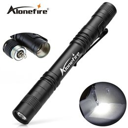 Wholesale AloneFire P50 CREE LED Mini Flashlight Belt Clip Pocket Torch Portable Flash Torch Lamps Use AAA battery flashlight