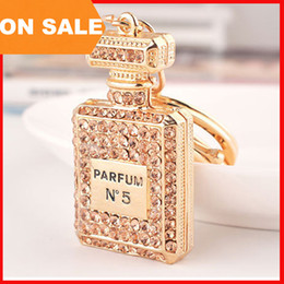 luxury crystal N5 perfume bottle keychains women bags pendants key chain key rings fashion statement jewelry Christmas gift 3 colors 240220