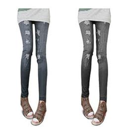 Moda mujeres Denim Color Leggings nuevo popular diseño poliéster Spandex Jeans pliegues plisado impresiones casual sexy leggings desde polainas de la impresión de poliéster fabricantes