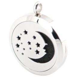 Wholesale 30mm star and moon Aromatherapy Stainless Steel Essential Oil Diffuser locket pendant Necklace with Refill Pads chain