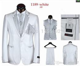 Trajes de la astilla en Línea-Al por mayor-Mejores ventas de 2016 nuevos trajes de boda de marca smoking traje traje de la astilla de café negro blanco Un botón de cinco piezas