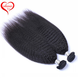 8A Unprocessed Yaki Straight Brazilian Hair Weaves 3 or 4 Pcs Lot Kinky Straight Yaki Human Hair Extensions Double Weft