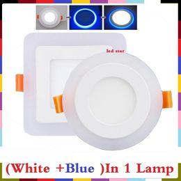 Скидка синяя панель Новое прибытие двойной цвета панели СИД 6w 9w 16w 24w водить панели потолочные светильники (белый + синий) цвета AC 110-240V + светодиодные драйверы