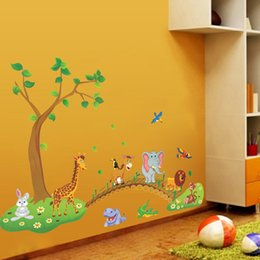 Wholesale 3D Cartoon Jungle Wild Animal Tree Bridge Flowers Wall Stickers for Kids Room Living Room Lion Giraffe Elephant Birds Home Decor