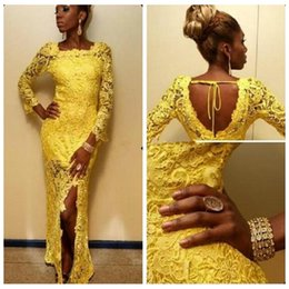 Black Girls African Style Sheath Yellow Full Lace Sheath Evening Dresses 2016 Lace Appliques Floor-Length Custom Slim Petite Prom Dress