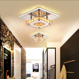 Wholesale Modern LED Crystal Ceilling light Chandeliers K9 LED W Contemporary LED Bulb Fixture Square LED Crystal Lamp for Hallway Corridor V