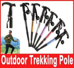 Wholesale 1x T handle section telescopic walking Cane Aerial Aluminium Alloy alpenstock antishock hiking climbing stick trekking pole Hot Selling