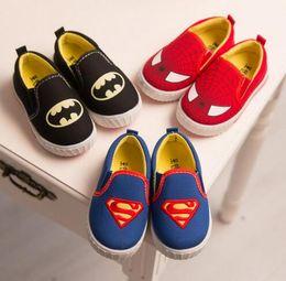 Nuevos zapatillas de deporte de los zapatos de los muchachos de las muchachas de la manera Zapatos de lona ocasionales de los niños del hombre araña del superhombre / Halloween (niño / desde zapatos de hombre araña para niños fabricantes