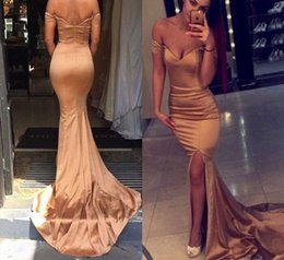 Wholesale 2016 New Sexy Arabic Gold Prom Dresses Off Shoulder Backless Sweep Train Modest Split Black Gril Evening Pageant Party Gowns Vestidos Cheap
