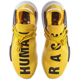 Wholesale Gobal popularity NMD with partnering Pharrell Williams Runner Shoes Primeknit Human and Race scripted across top Yellow Grey White Black