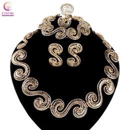 18K gold Trendy women necklace Jewelry sets statement necklace with earrings for party wedding 2016 Exclusive