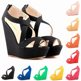 Sapato Feminino Fashion Women Cut Out Faux Suede Platform Pumps Peep Toe High Heels Wedge Shoes Sandals Size 35-42 D0092
