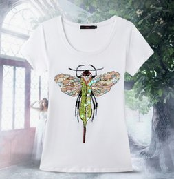 Wholesale Mágica la nueva camiseta ocasional de las mujeres de la camiseta del algodón de la manga del cortocircuito de la llegada que rebordea la camiseta hecha a mano M XL del verano de las tapas libera la nave