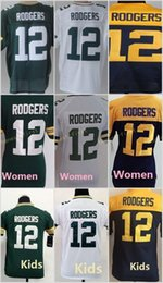 Wholesale 12 Aaron Rodgers Green White Blue Yellow Home Away Road Cheap Elite Football jerseys Men Women Youth Kids Embroidery Logo Mix Order