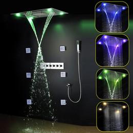 Descuento alto acero inoxidable pulido Mando a distancia de luz LED de color 304 de acero inoxidable pulido cabezal de ducha de alto flujo de latón ducha grifo lluvia ducha conjunto 20160927 #