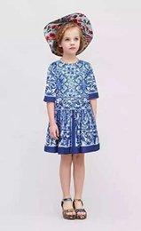 2016 girls blue floral dresses kids princess clothes children summer short sleeve clothing high quality party dress size 100-150cm
