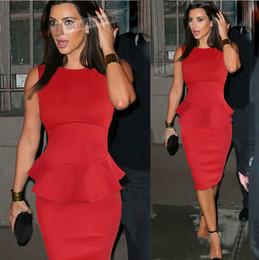 Robes moulantes kardashian à vendre-Vente Hot Kim Kardashian robe de célébrité FASHION Peplum femmes Robe crayon soirée élégante robe de soirée longueur au genou en magasin 2016 de haute qualité