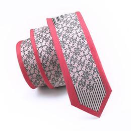 New Style Fashion Silk Red Verge Necktie Vintage Black Floral Ties Printed 6cm Narrow Ties for Men Groom Wedding Popular Ties E-109