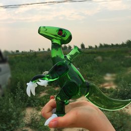 Wholesale Tyrannosaurus with white claws glass bongs and a crystal clear ball dinosaur oil rigs dab rigs with COLORED female polished joint mm